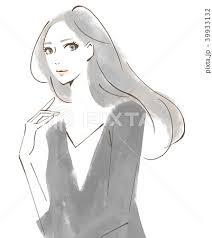 手描き 大人の女性 水彩風のイラスト素材 39933132 Pixta