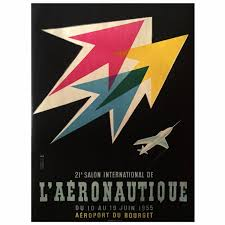 Mid-Century Modern Period French Air Show Advertising Poster, 1955 1