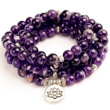 <b>Woman Mala</b> Unisex <b>Bracelets</b> For <b>Women Natural</b> Purple Quartzs ...
