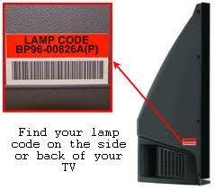samsung tv lamp. samsung dlp tv lamp code location. tv u