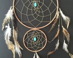 Double Dream Catchers Dream Catcher with Double Rings Light green White and 11