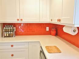 Orange And White Kitchen Kitchen Bright Orange Subway Tile Kitchen Decor Combined With