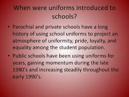 school uniforms  4 when were uniforms introduced to schools