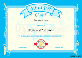 Kids Certificate Border Kids Summer Camp Document Certificate Template With Light