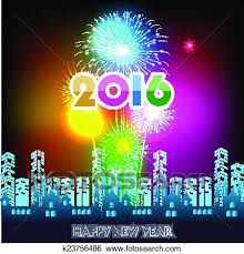 happy new year 2016 with fireworks. Interesting New Clip Art  Happy New Year 2016 With Fireworks  Fotosearch Search  Clipart Illustration In With Fireworks