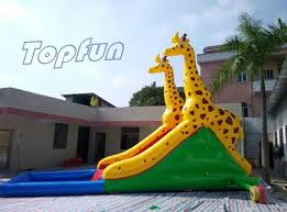 inflatable inground pool slide. Safety Handles Carambole Inflatable Water Slide With Inground Pool For Kids E