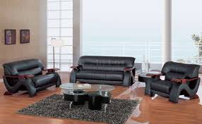 Mahogany Living Room Furniture Black Leather 3pc Modern Living Room Set W Mahogany Arms