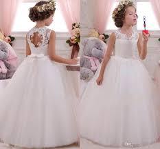 <b>2019 Lovely</b> Lace Appliqued Tulle <b>Flower Girls</b> Dresses Open Back ...