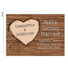 rustic wooden heart save the date wedding cards 23032