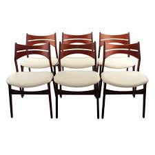 rosewood and teak dining chairs set of 6 erik buck model 310 chairs ca gently red and ed with new cream leather seats by danishvinedesigns