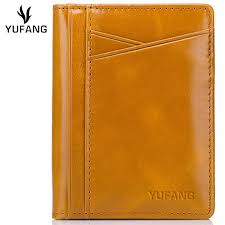 yufang genuine leather card holder female oil wax leather change wallet women bright color card case fashion purse las whole handbags handbags for