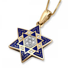 blue enamel and 14k gold diamond star of david necklace jewish jewelry judaica web
