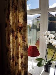 laura ashley gosford lined curtains in paprika tie backs and 2 matching lampshades
