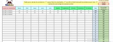 Excel Modificable Para Calcular Porcentaje De Asistencia