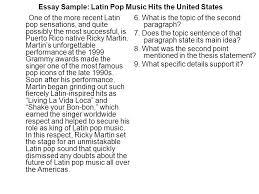 essay sample latin pop music hits the united states since the essay sample latin pop music hits the united states one of the more recent latin