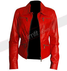 slim fit red women s leather motorcycle jacket 162 0