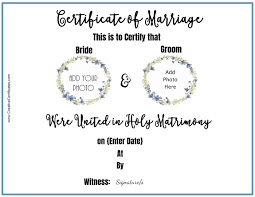 Free Marriage Certificate Template Customize Online Then Print