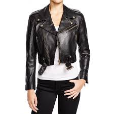 women s belted cropped black leather jacket zoom women s