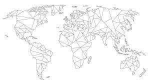 Wereldkaart Geometrisch Zwart Op Wit Van Wereldkaartenshop