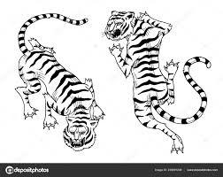 азиатские тигры в старинный японский стиль для логотипа дикие