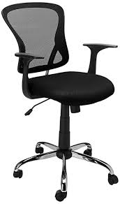 flash furniture mid back black mesh swivel task chair with chrome base and arms