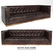 karl rustic lodge black stud tufted leather sofa 3d model