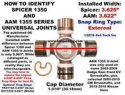 U Joint Identification Chart U Joint Id Spicer 1350 And Aam 1355 Series Idn 142 Torque