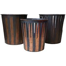 Trash Cans And Wastebaskets Unique Japanned Finished Copper Factory Office Trash Cans Wastebaskets For