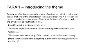 essay about racial discrimination argumentative essay racism  of mice and men national essay theme racism ppt para 1 introducing the theme to write