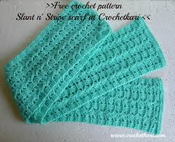 Crochet Patterns For Scarves Enchanting Crochetkari Free Crochet Pattern Slant N Stripe Scarf