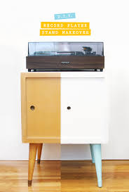 record player stand makeover
