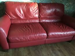 3seater natuzzi red leather sofa bi auckland