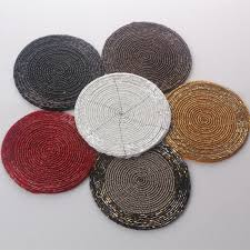 high quality handmade beaded placemats round white red black gold red table mats and coasters