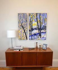 2 panel wall art stained glass yellow and blue winter river  on canadian artist wall art with canadian 2 panel wall art for sale by your canadian artist munzy