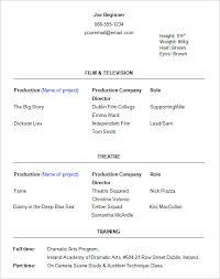 Actor Resume Template Pelosleclaire Com