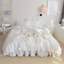 4 white pink color korean style bedding set king queen twin size double single girls bed set duvet cover bedskirt duvets on comforters king from