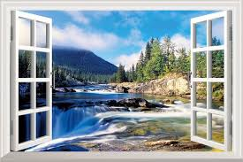 faux scenic window wall decals designs