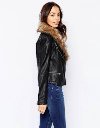 new look faux fur collar leather look biker jacket