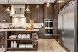 Flat Front Cabinets In A Walnut Finish Kitchen In 2019 Modern