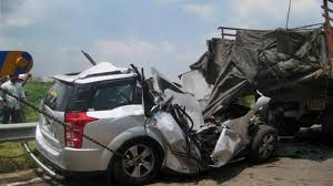 car accident. at least six people were killed after a tempo and car collided with each other accident