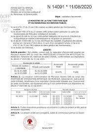 REPUBLIQUE DU SENEGAL N° Ministère de la Fonction publique et du Renouveau  du Service public Objet : validation d'ancien