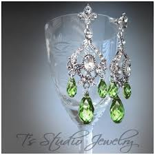 peridot green crystal chandelier earrings