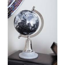Modern Decorative Globe in Black and Silver
