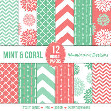 Mint and coral Rose Gold Mint And Coral Digital Paper Digital Scrapbooking Paper Variety Pack In Floral Arrows Quatrefoil And Chevron Patterns Commercial Use Ok Pinterest Mint And Coral Digital Paper Digital Scrapbooking Paper Variety