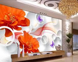 Beibehang Aanpassen Elke Maat 3d Behang Water Rood Rose Vlinder 3d