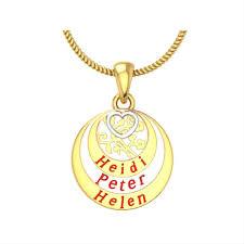 name engraved three circle gold pendant