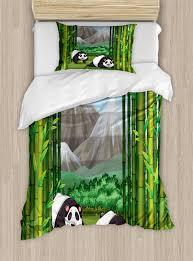 tropical twin size duvet cover set panda bears walking among bamboo majestic mountain jungle cartoon ilration decorative 2 piece bedding set with 1
