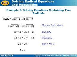 example 2 solving equations containing two radicals