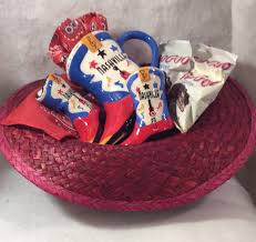 3 goo goo cers nashville gift basket 1 red straw cowboy hat filled with boot mug boot salt pepper shakers