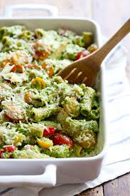 healthy chicken pasta recipes. Plain Chicken Baked Pesto Rigatoni In A Baking Dish With Wooden Spoon And Healthy Chicken Pasta Recipes F